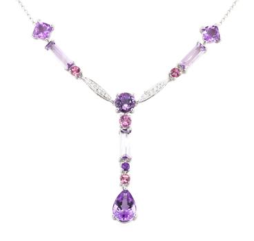 18K White Gold 7.93 Grams Amethyst & Diamond Necklace