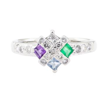 14K White Gold 2.40 Grams Diamond Ring w/ Colored Stones