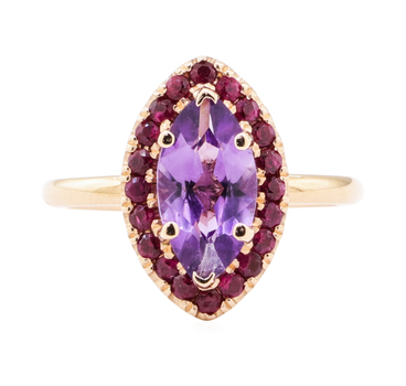 14K Rose Gold 3.71 Grams Ruby Marquise Halo Style Ring w/ Amethyst Center Stone