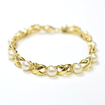 14K Yellow Gold 15.00 Grams Pearl Bracelet