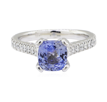 14K White Gold 5.80 Grams Natural Sapphire and Diamond Ring