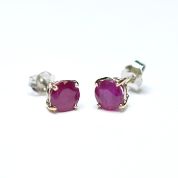 14K White Gold Prong Set Round Cut Ruby Stud Earrings