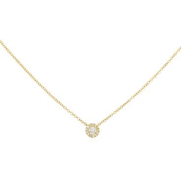 14K Yellow Gold 1.75 Grams Diamond Circle Pendant/Necklace