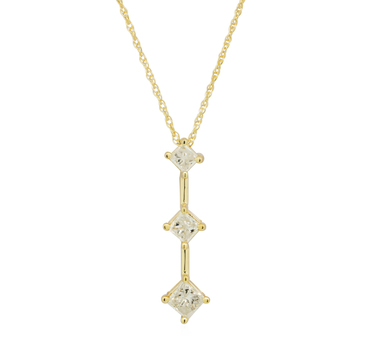14K Yellow Gold 1.90 Grams Three Stone Style Diamond Pendant Necklace