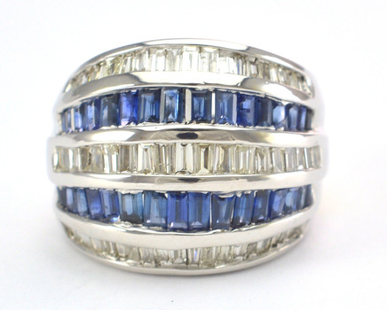 14K White Gold 13.50 Grams Sapphire and Diamond High Polished Ring