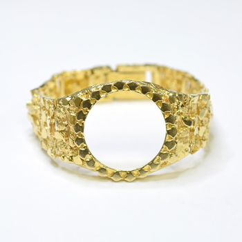 14K Yellow Gold 65 Grams 36mm Nugget Design Watch Bracelet