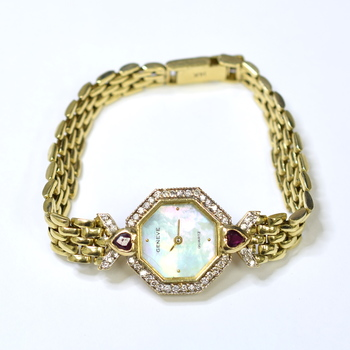 Geneve 22mm 14K Yellow Gold Fabric Diamonds & Ruby Mother of Pearl Ladies Watch