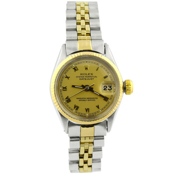 Rolex Datejust Lady's 26 MM Champagne Roman Dial 14K Yellow/Steel