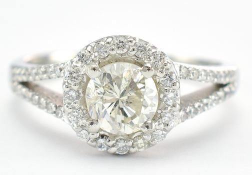 Platinum 5.70 Grams 1.12 Carat t.w. Diamond Round Halo Style Split Shank Ring