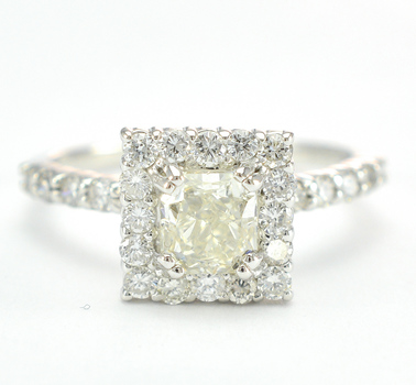 14K White Gold 2.90 Grams 1.31 Carats t.w. Diamond Square Halo Style Ring