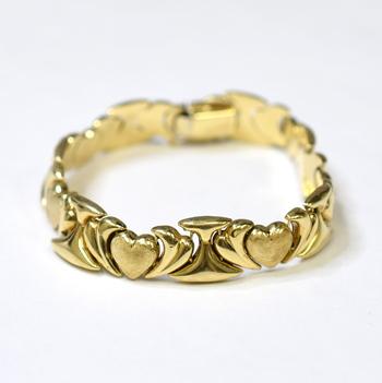14K Yellow Gold 21.45 Grams Heart Design Bracelet