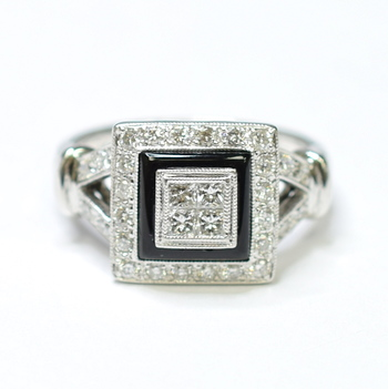 18K White Gold 6.76 Grams Princess and Round Diamond Invisible Set Square Top Split Shank Ring