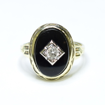 14K Yellow Gold 6.75 Grams Diamond Onyx Ring