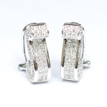18K White Gold 8.30 Grams Princess and Round Diamond Earrings