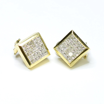 18K Yellow Gold 11.34 Grams Invisible Set Princess Cut Diamond Square Earrings