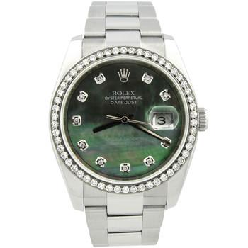 Rolex Datejust Mens 36mm MOP Diamond Dial Steel Custom Diamonds Bezel 116200