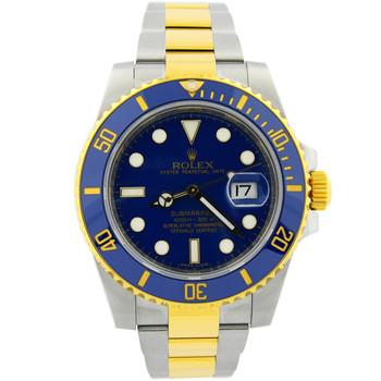 Rolex Submariner Mens 40mm Blue Dial 18kt Yellow/Steel Ceramic Bezel 116613LB