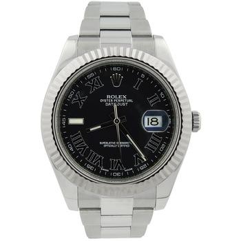 Rolex Datejust II Mens 41mm Grey Roman Dial Steel Gold Bezel 116334