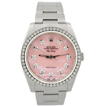 Rolex Lady Air-King Stainless Steel 34mm MOP Diamond Dial Watch 114200