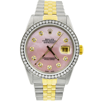Rolex Lady Datejust 18KT Yellow Gold/Steel 36mm MOP Diamond Dial Watch 16013