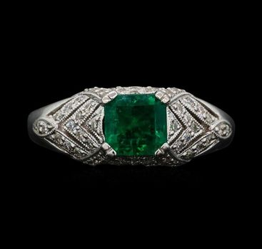 18K White Gold 5.50 Grams Emerald and Diamond Vintage Inspired Lady's Ring