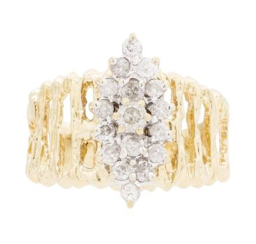 14K Yellow Gold 4.15 Grams Diamond Cluster Style Nugget Ring