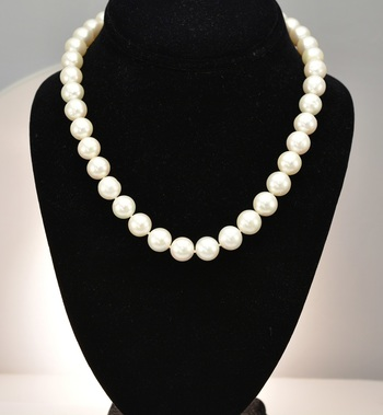 14K White Gold 69.40 Grams Fresh Water Pearl Necklace