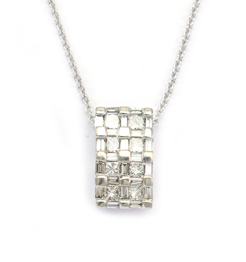14K White Gold 3.25 Grams Baguette and Princess Cut Diamond Pendant With Gold Chain