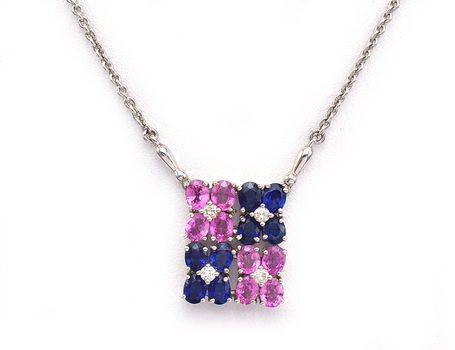 14K White Gold 7.38 Grams Mixed Sapphire and Diamond Pendant With Gold Chain