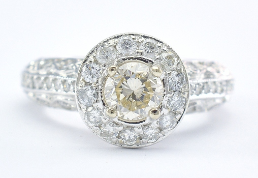 14K White Gold 6.50 Grams 1.26 Carats Diamond Halo Style Ring With 0.75 Carat t.w. Round Diamond Center Stone