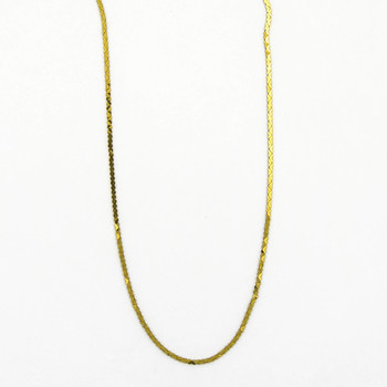 18K Yellow Gold 3.30 Grams Flat Curb Style Chain Necklace