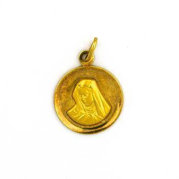 14K Yellow Gold 3.15 Grams Religious Themed Circle Pendant