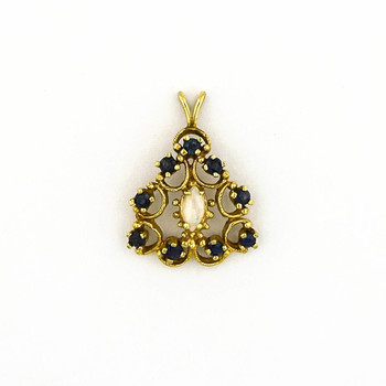 14K Yellow Gold 4.80 Grams Opal and Sapphire Pendant