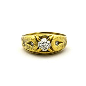 14K Yellow Gold 5.50 Grams Three Stone Style Diamond Men's Ring