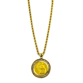 14K Yellow Gold 21.50 Grams Coin Pendant With Rope Chain Style Necklace