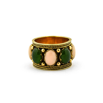 14K Yellow Gold 8.30 Grams Coral and Green Agate Eternity Ring