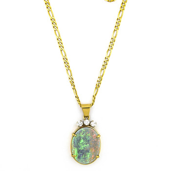 14K Yellow Gold 17.60 Grams Opal and Diamond Pendant With Chain Necklace