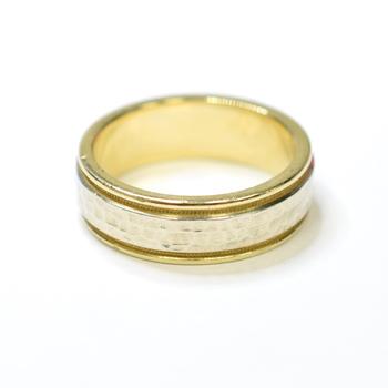 14K Yellow Gold 10.57 Grams Hammer Design Men's Wedding Band