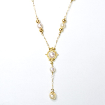 10K Yellow Gold 14.05 Grams Pearl Necklace