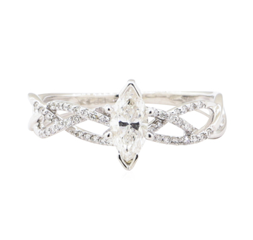 10K White Gold 2.50 Grams Diamond Braided Ring