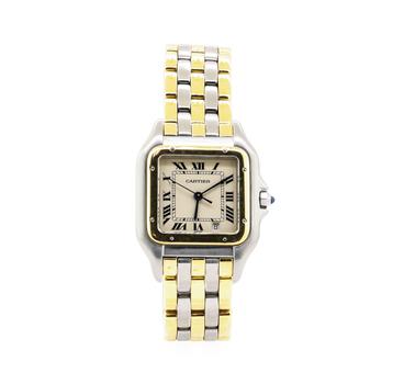 18K Yellow Gold & Steel 75.20 Grams Authentic Cartier Wristwatch