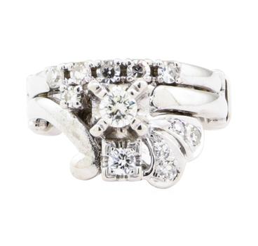 14K White Gold 6.28 Grams Diamond Adjustable Ring