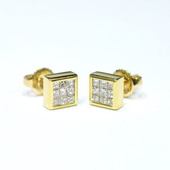 14K Yellow Gold 2.80 Grams Invisible Set Princess Cut Diamond Square Earrings
