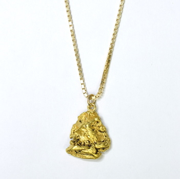14K Yellow Gold 9.35 Grams Vintage Themed Pendant With Box Chain Necklace