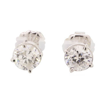 14K White Gold 1.40 Grams 1.48 Carats t.w. Round Diamond Stud Style Earrings