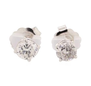 14K White Gold 2.50 Grams 2.08 Carats t.w. Round Diamond Stud Earrings