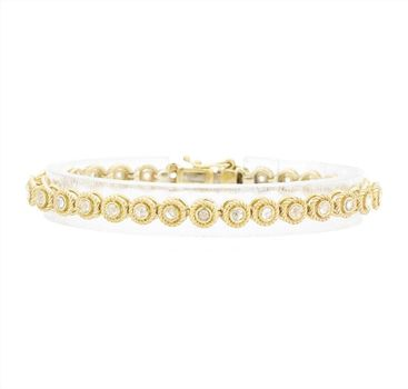 14K Yellow Gold 15.00 Grams Bezel Set Round Diamond Tennis Bracelet