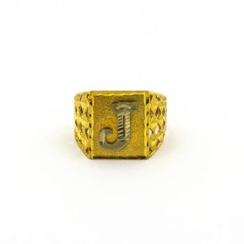"""14K Yellow Gold 5.50 Grams """"J"""" Initial Men's Ring"""