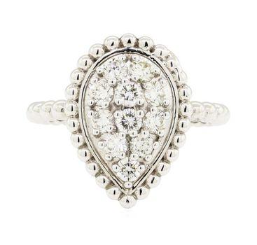 14K White Gold 4.30 Grams Pear Shape Cluster Style Beaded Design Diamond Ring