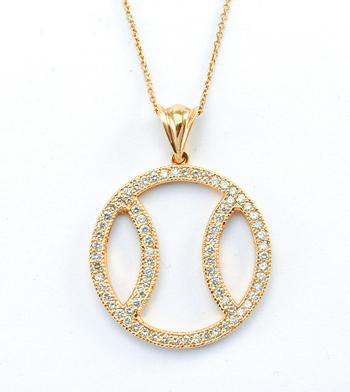14K Rose Gold 6.53 Grams Diamond Pave Set Basketball Pendant With Gold Chain